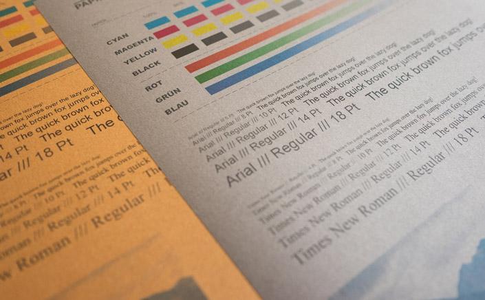 Papier Direkt Blog blog.papierdirekt.de /// Metallics gebürstet /// Drucktest auf Cognac und Shadow