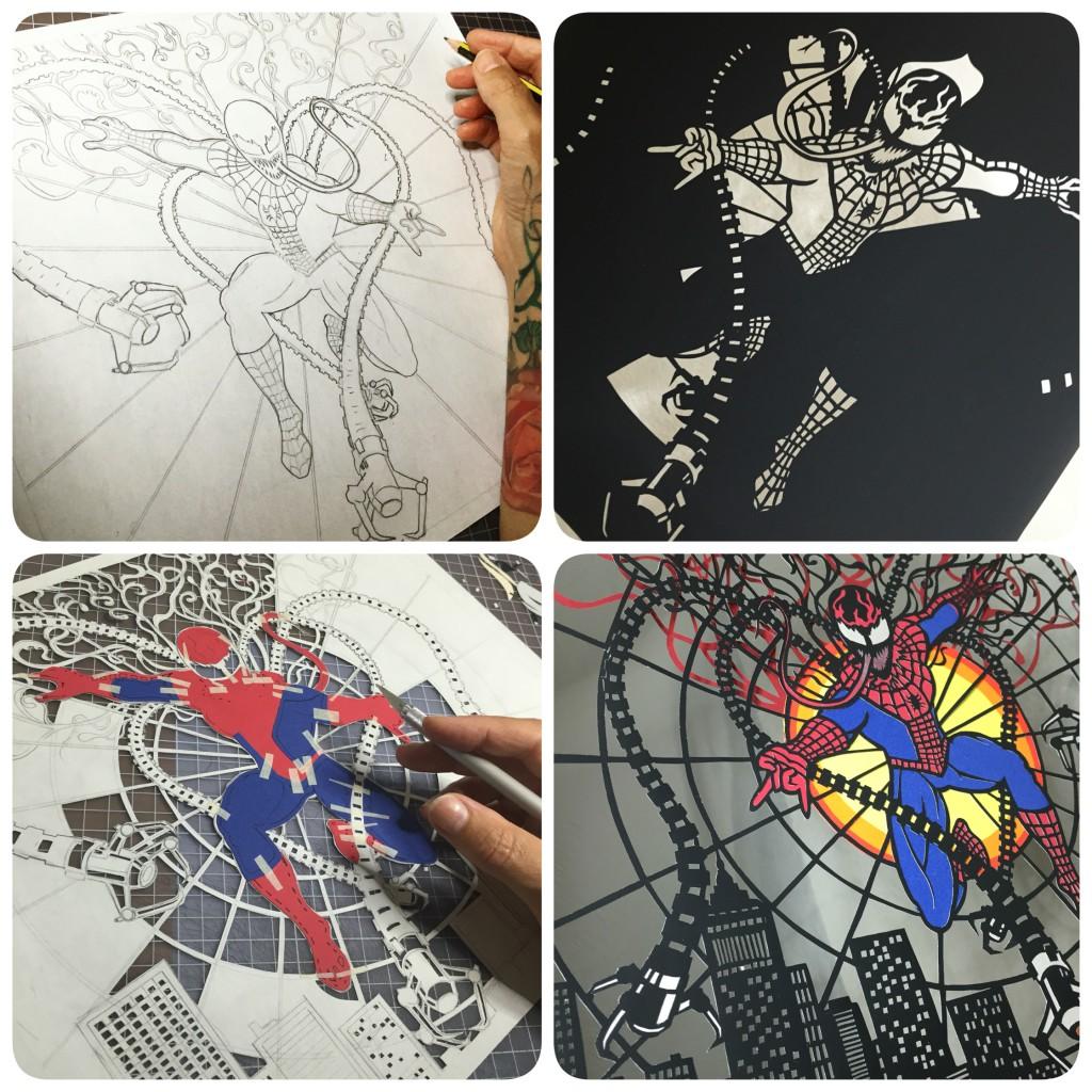 Papercuts von Jo Chorny / Peaceofpaper1 /// Spiderman Progress /// Zarte Silhouetten voller Kreativität mit dem Skalpell in Hammerschlagpapier geschnitten. Wundervolle Kunstwerke, und eine Herausforderung für jeden DIY-Liebhaber. /// Jetzt im Blog auf blog.papierdirekt.de