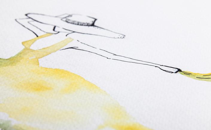 """Papier Direkt Künstlerblöcke /// weißer Aquarellmalblock mit Illustration """"Sommerdame"""" von Pia Neuenhoefer, Köln. Fester Malkarton mit Prägung. Tuschezeichnung mit Aquarell coloriert. Neu im Blog auf blog.papierdirekt.de"""