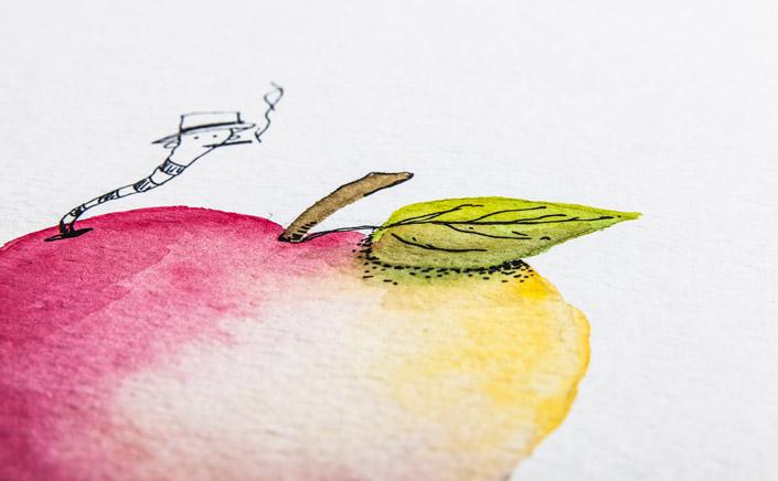 """Papier Direkt Künstlerblöcke /// weißer Aquarellmalblock mit Illustration """"Apfel"""" von Pia Neuenhoefer, Köln. Fester Malkarton mit Torchon – Prägung. Tuschezeichnung mit Aquarell coloriert. Neu im Blog auf blog.papierdirekt.de"""