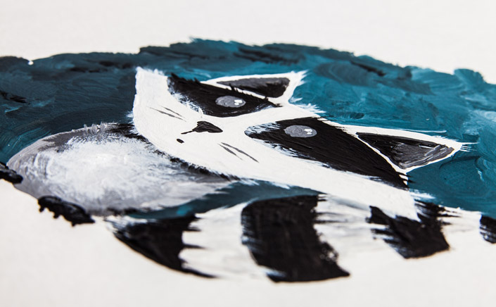 """Papier Direkt Künstlerblöcke /// naturweißer Ölmalblock mit Illustration """"Waschbär"""" von Pia Neuenhoefer, Köln. Fester Malkarton mit Leinenprägung. Neu im Blog auf blog.papierdirekt.de"""