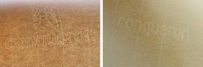 Conqueror gerippt altes Wasserzeichen mit William the Conqueror und neues Wasserzeichen dezenter Schriftzug im Vergleich