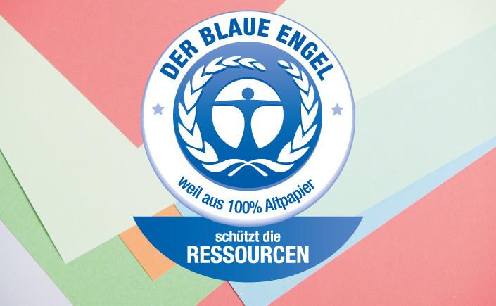 Heute im Mittelpunkt: Das Umweltzeichen Blauer Engel. Die Kombination aus nachhaltiger Produktion und bester Qualität macht für uns ein gutes Papier aus.