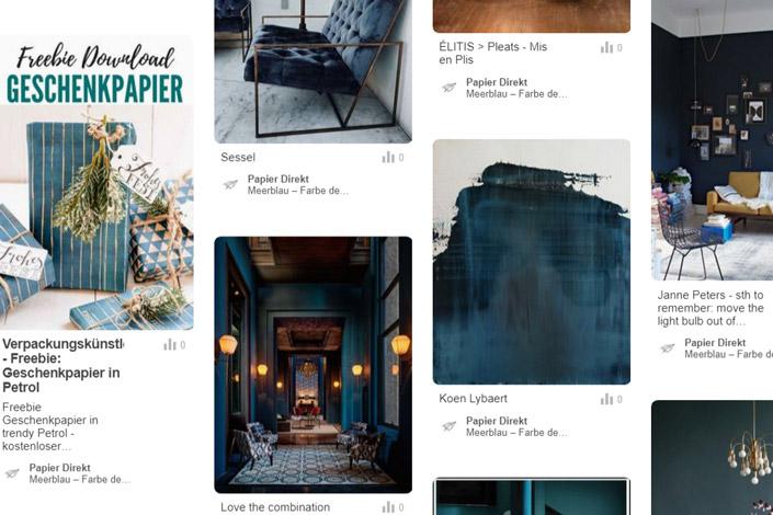 Meerblau ist unsere Farbe des Monats Juli. Schauen Sie sich das Pinterestboard voller Inspiration und die passenden Produkte im Papier Direkt Blog an.
