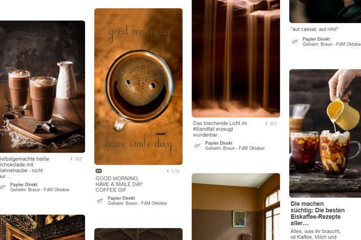 Braun steht für den Wunsch nach Wärme und Gemütlichkeit im Herbst. Unser Pinterestboard zeigt Inspirierendes und die passenden Papiere zur Farbe des Monats.