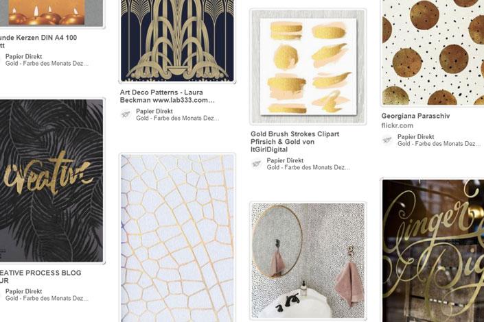 Der Dezember glänzt und glitzert. Gold spielt eine wichtige Rolle im Design. Wir präsentieren die Farbe des Monats im Blog und zeigen passende Papiere.