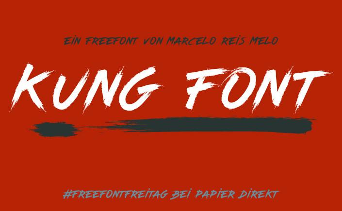 Seit Karate Kid kennt man den Mix von Kampfsport und Pinselstrich. Es ist #FreeFontFreitag, hier kommt Kung Font, so kraftvoll wie ein Handkantenschlag.