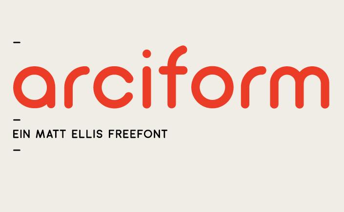 Arciform, eine geometrische Sans Serif, die mit einem modernen und luftigen Look begeistert. Am #FreeFontFreitag im Mai stellen wir Arciform im Detail vor.