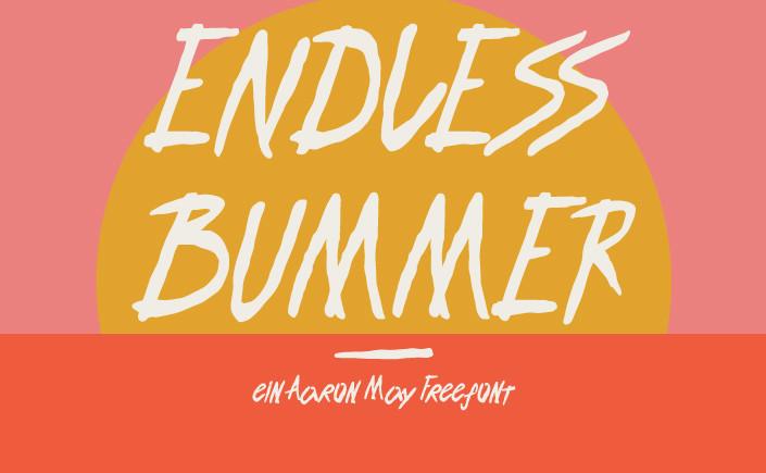 #FreeFontFreitag. Inspiriert von der Surf- und Skatekultur der achtziger Jahre hat Aaron May Endless Bummer geschaffen, den Freefont passend zum Sommer.