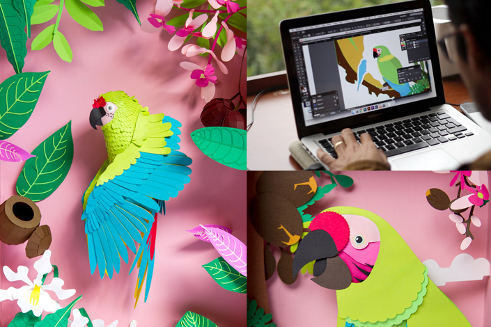 Siempre Silvestres ist eine Papercraft Ausstellung, die auf bedrohte Tierarten Südamerikas aufmerksam macht. Sehen Sie tolle Papercuts zum Ara ambiguus.