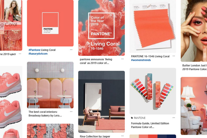pantone living coral farbe des jahres 2019 papier direkt. Black Bedroom Furniture Sets. Home Design Ideas