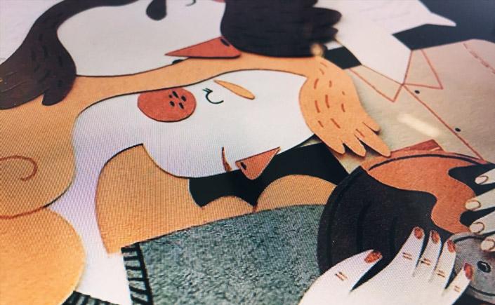 """In seiner Papercraft Serie """"Siesta"""" bildet Jotaka kuschelnde Paare aus Papier ab. Wir zeigen Ihnen die wunderbar gemütlichen Szenen und das passende Papier."""
