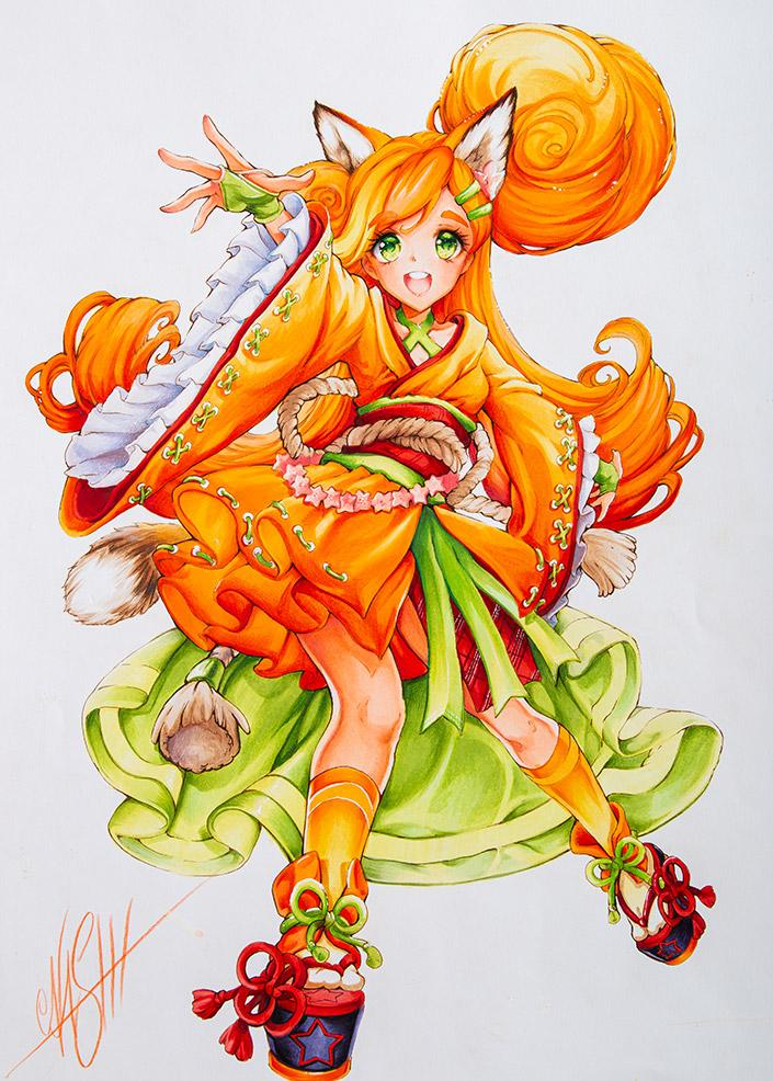 Mangagirl Luma als Motiv auf dem neuen Luma Markerpapier, gezeichnet von Nashi.