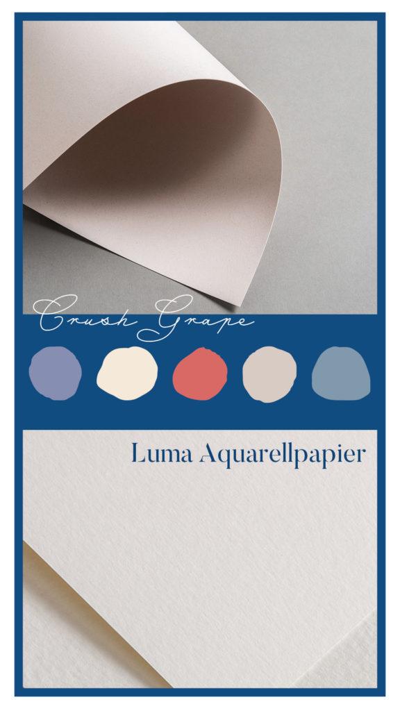 Papiere im Mix mit Classic Blue: Crush Grape und Luma Aquarellpapier