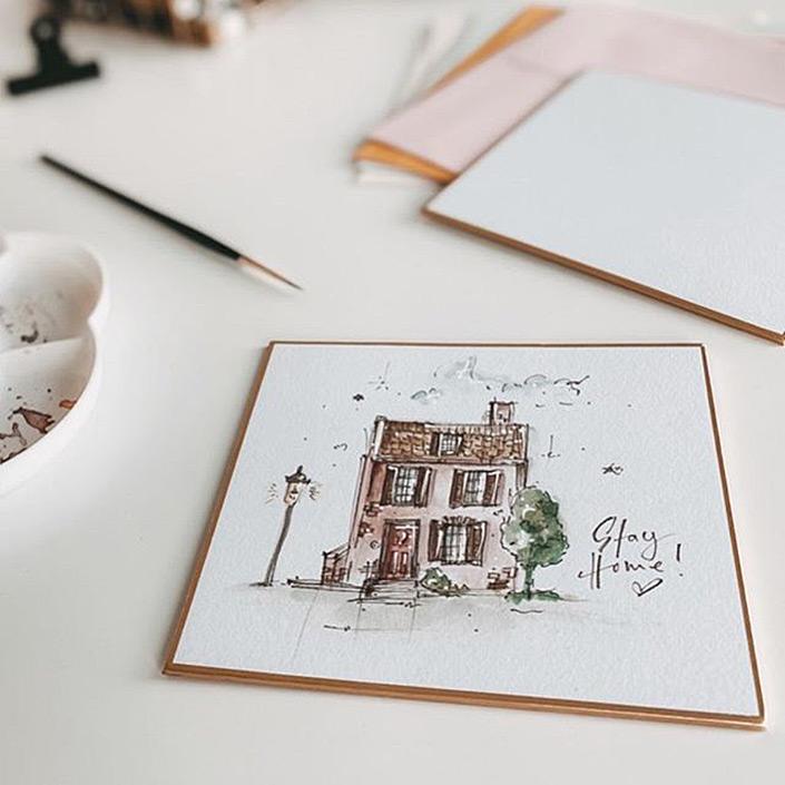 Moderne Loose Watercolor Florals und Aquarell-Zeichnungen finden auf dem japanischen Malkarton einen tollen Rahmen. Was den japanischen Malkarton ausmacht, lest Ihr im Papier Direkt Blog.