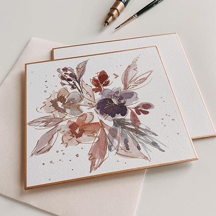 Moderne Loose Watercolor Florals und Aquarell-Zeichnungen finden auf den Shikishi einen tollen Rahmen. Was den japanischen Malkarton ausmacht, lest Ihr im Papier Direkt Blog.