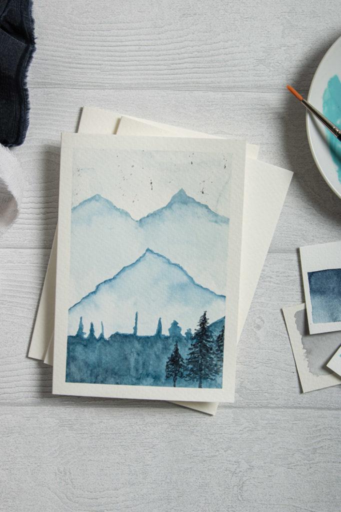 Watercolor Landscape gemalt auf Aquarellkarte Blanko von Papier Direkt