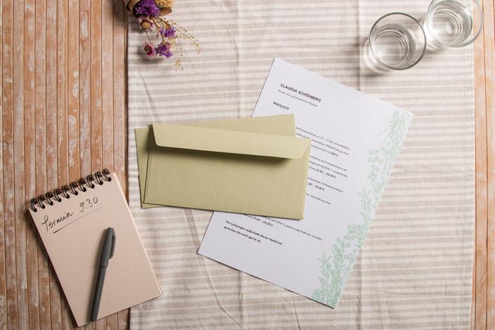 DCP Green Druckpapier mit DIN lang Hüllen Crush Kiwi. Aus dem Design Kit nachhaltige Gestaltung.