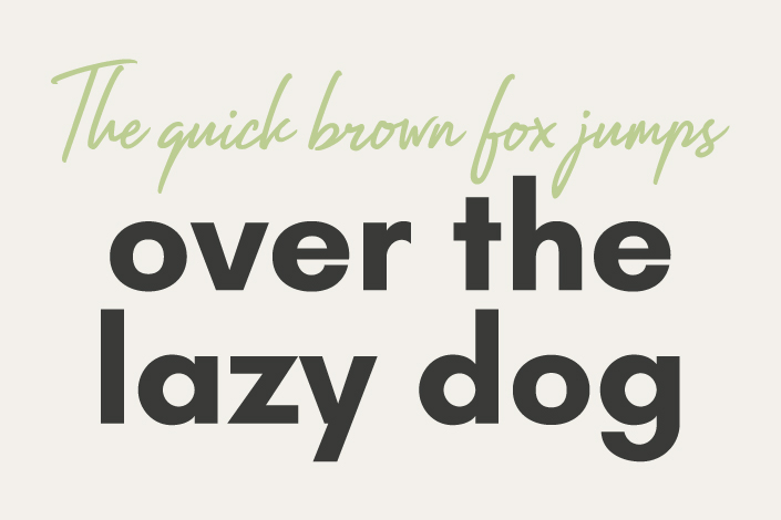 typografie illustration. the quick brown fox jumps over the lazy dog mit den Schriftarten Impossible und Glacial Indifference.