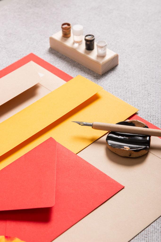 Sommerliche Farbpalette für Papeterie mit Kalligrafie Feder und Dinky Dips