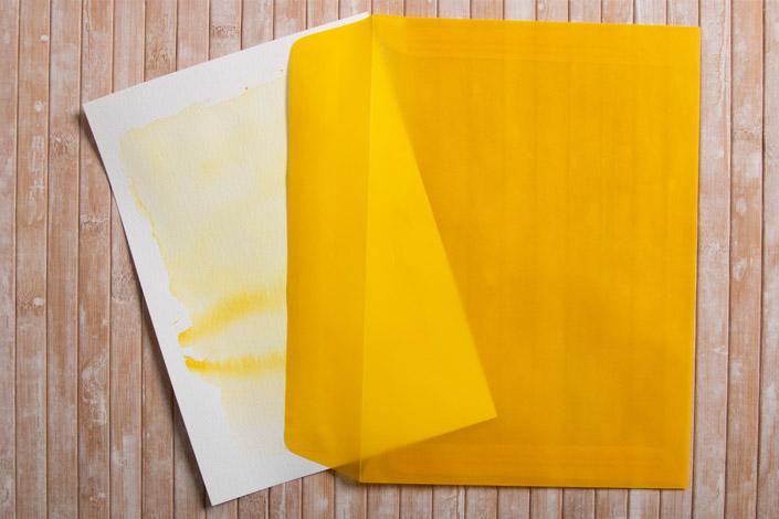 Karte aus Luma Mixedmedia Papier mt gelben transparent Kuvert.