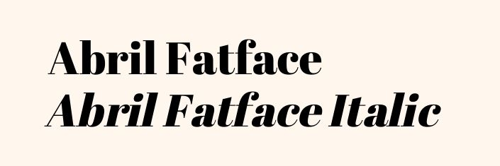 Font Abril Fatface und Abrl Fatface italic