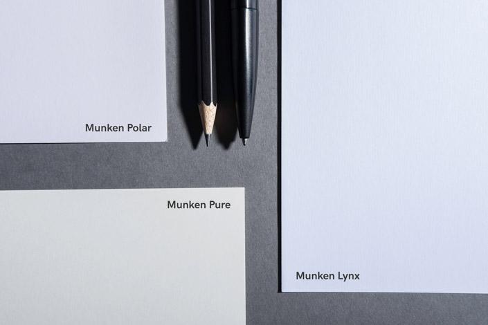 Munken Feinpapier - Farbvergleich der Sorten Pure, Polar und Lynx