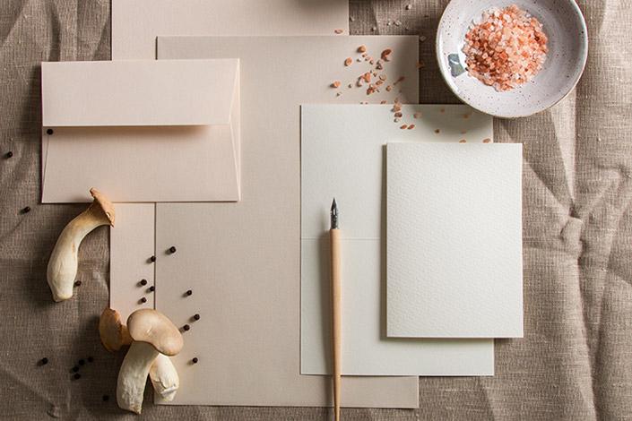 Flatlay der Farbpalette Pilzrisotto. Colorplan Vellum White, Colorplan Mist und Aquarellkarten in Altweiß
