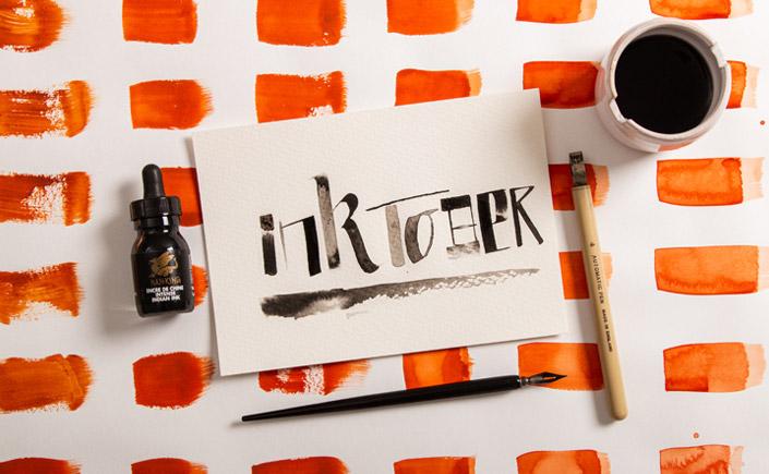 Inktober Schriftzug auf Luma Aquarellpapier. Wir zeigen Euch den Inktober.