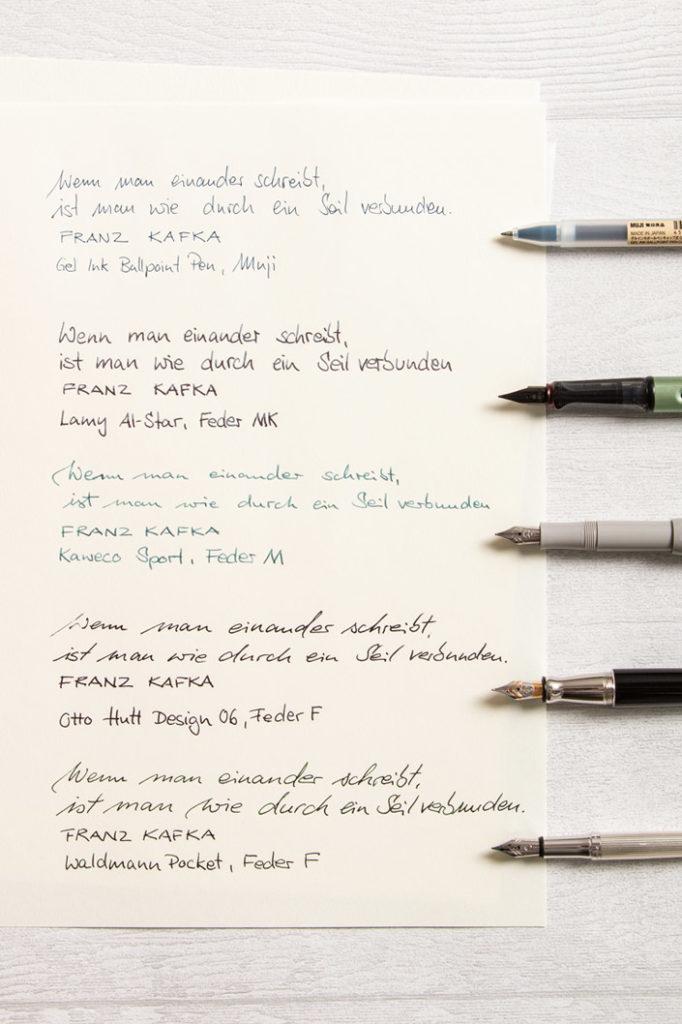 Schreibproben mit Füllern und Gel Pen