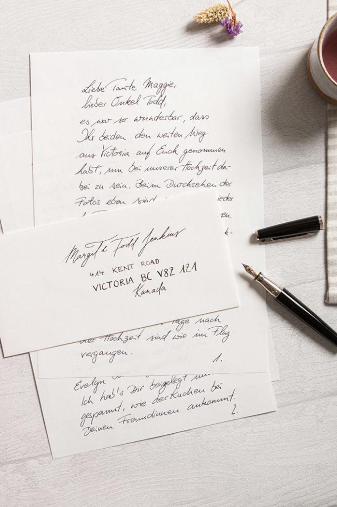 Handgeschriebener Brief und adressiertes Kuvert mit Otto Hutt Füller