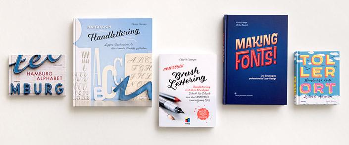 Bücher der Autorin Chris Campe über Schriftgestaltung, Lettering und das Hamburg Alphabet