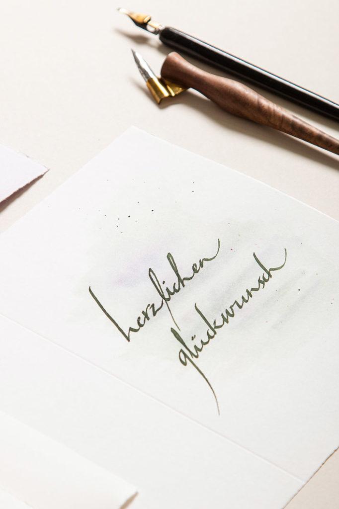 Alt Holländisch Bütten mit Bandzugfeder Kalligrafie