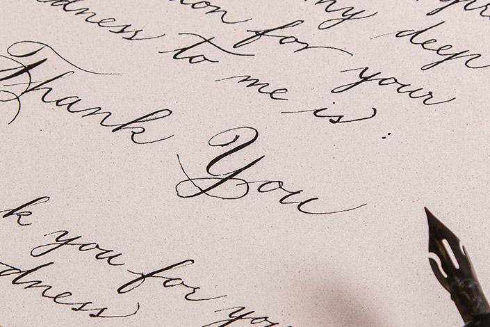 Feinpapier Crush als Kalligrafie Papier mit Spencerian Script
