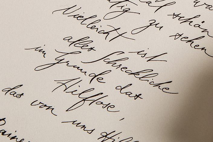 Luma Skizzenpapier mit kalligrafiertem Rilke Zitat