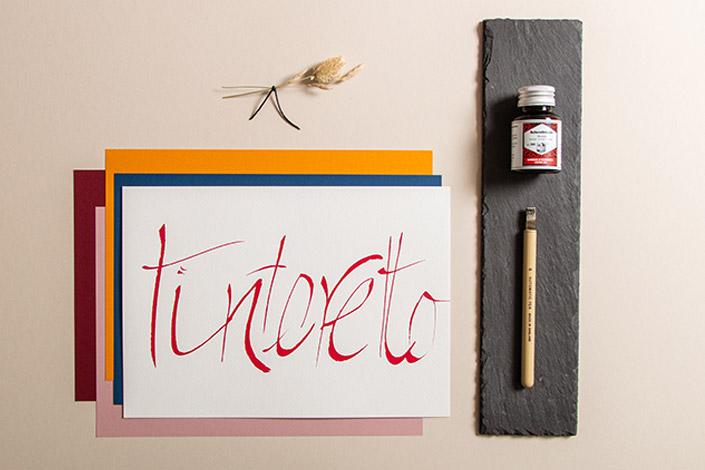 Tintoretto Ceylon Papier für Kalligrafie mit Automatic Pen und roter Tinte