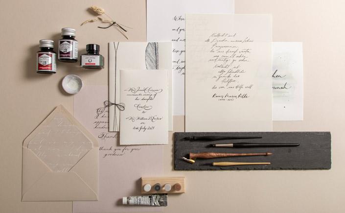 Kalligrafie Papiere, Karten und Briefumschläge