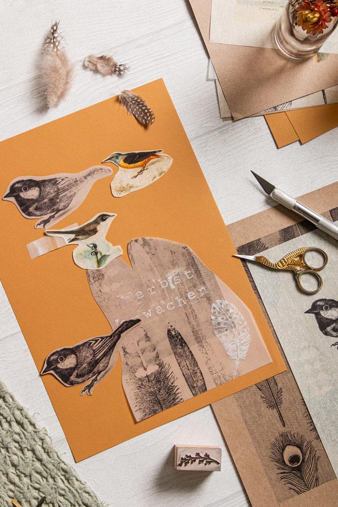 Strukturpapier Nettuno für DIY Collage mit transparenten Papieren