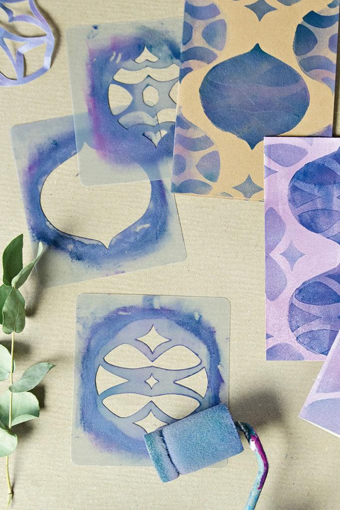 DIY Karten mit Schablonentechnik