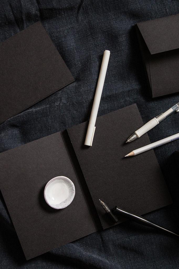 Aufsicht auf die Produkte aus schwarzem Papier, die in der Black Box enthalten sind.