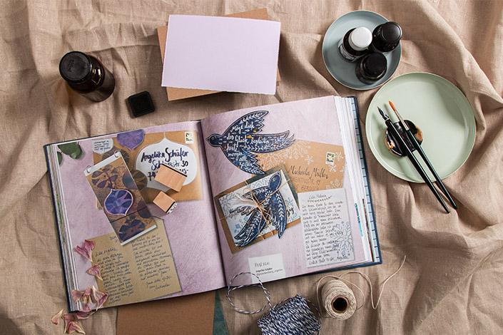 """Blick auf eine Doppelseite aus dem Buch """"Schöne Post"""" von Michaela Müller und Tabea Heinicker"""