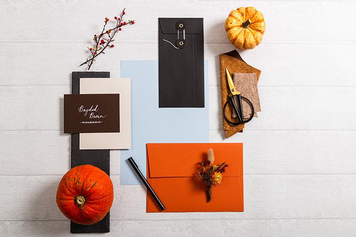 Herbstliches Flatlayfoto der Farbpalette aus Hot Colors Hellblau, Colorplan Rost und Baghdad Brown