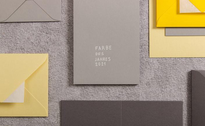 Papiere in der Farbe des Jahres 2021 - Ultimate Gray und Illuminating