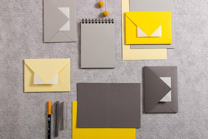 Karten und Kuverts in der Farbe des Jahres 2021 - Ultimate Gray und Illuminating