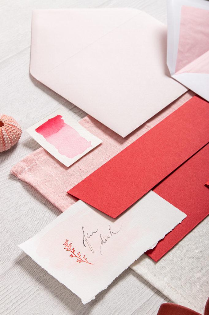 Papeterie zum Valentinstag mit Colorplan Vermillion Umschlägen