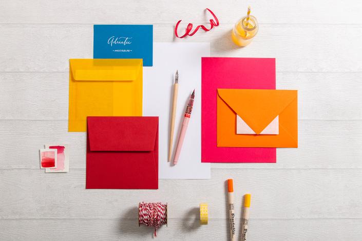 Colorpalette für sommerliche Papeterie mit Colorplan Vermillion, Mandarin und Tabriz Blue