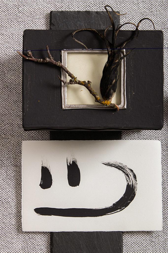 Büttenkarte und Fotobox in Farbe Schiefer