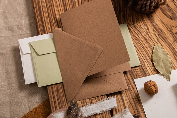 Kraftpapier Klappkarte mit passendem Briefumschlag