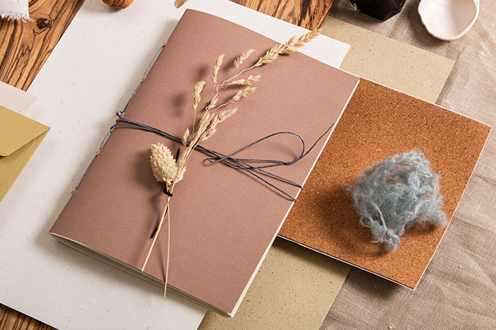 DIY Notizheft mit Einband aus Feinpapier Crush Almond