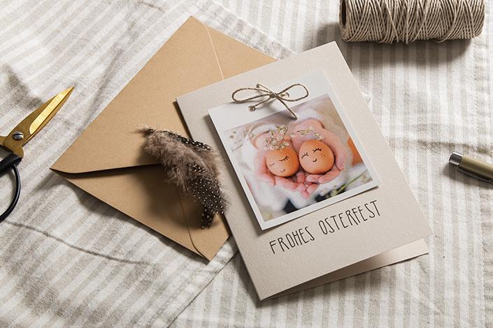 Osterkarten DIY aus Colorplankarten und österlichem Polaroid Bild